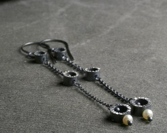 Sterling silver and pearl oxidized textured chandelier dangle earrings