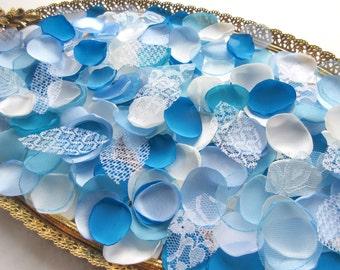Blue Petals Flower Petals White Aqua  Teal, 150 Handmade Custom Flower Petals .