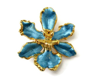 Blue orchid brooch, vintage flower brooch, enamel flower brooch, vintage enamel, enamel brooch, blue flower