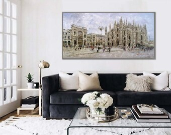 "Milano Duomo Cathedral and Galleria 31x62"" / 80x160cm Oil Painting"