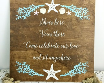 Beach Wedding Signs | Beach Wedding Decor | Wedding Beach Sign | Beach Wedding | Beach Two Families Wedding Sign - WSC-1