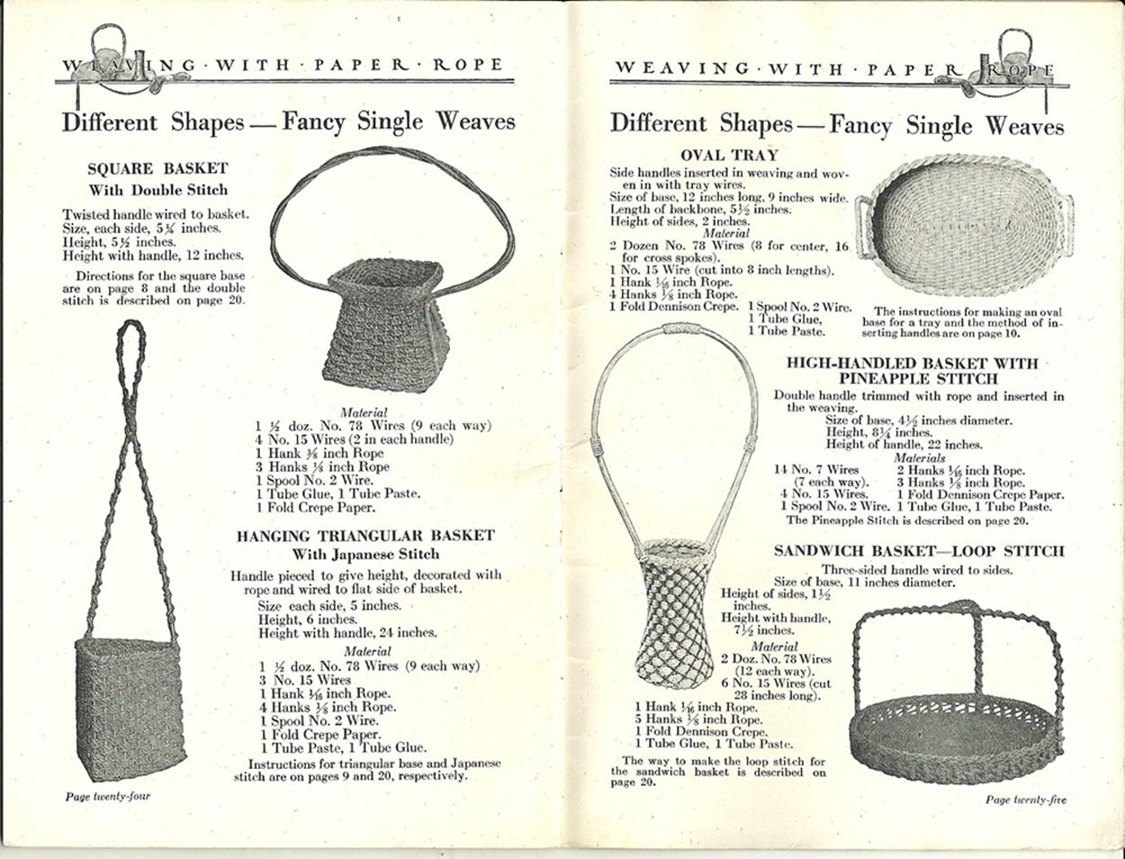 Weaving with Paper Rope - Vintage 1922 Crafting Instruction Booklet ...