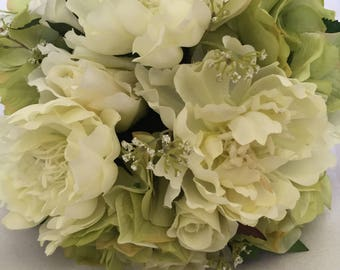 wedding bouquet, bridal bouquet, white and green bouquet, bridesmaids bouquet, silk flower bouquet, wedding flowers, peony bouquet