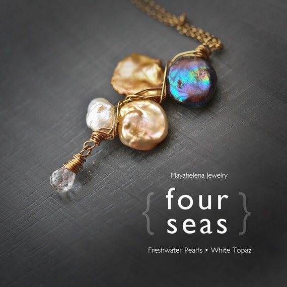 Four Seas - Multi Color Keishi Pearl Gold Filled Wire Wrapped Necklace
