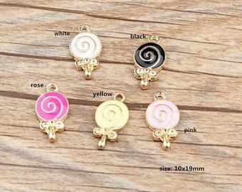 10PCS, 10x19mm, Enamel Charm, Lollipop Charms, Sweet Charms, Jewelry Pendant, Bracelet Charm, Craft Supplies, Gold Tone