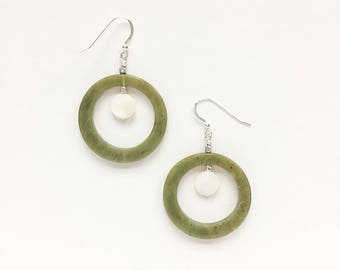 Jade and Mother of Pearl Earrings on Sterling Silver Ear Wires, Green White and Silver Earrings, Mod 1960's Simple Earrings, 60s Mod Style