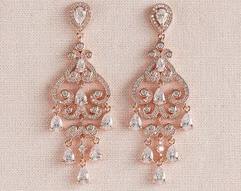 Rose Gold Bridal Earrings, Filigree Wedding Earrings, Gold, Chandelier Earrings, Swarovski, Charlotte Bridal Earrings