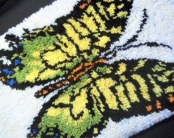Finished Latch Hook Rug or Hanging of a Monarch Butterfly