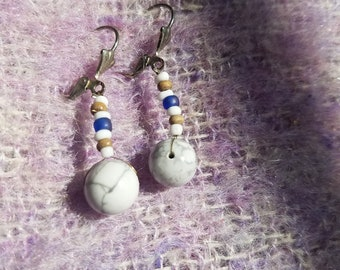 White and Gray earrings