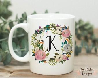 Initial Coffee Mug | Monogram Coffee Mug | 11 or 15 oz Mug | Personalized Mug | Watercolor Floral Mug | Coffee Lover Gift | Gifts under 25