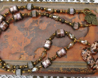 Lampwork Artisan Beaded Pendant Necklace with Antique Brass and Crystal