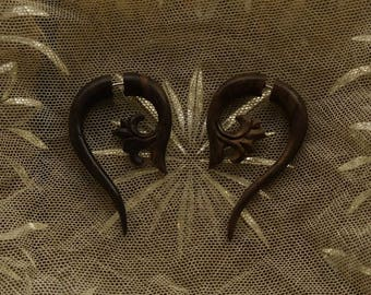 Bali Wood Faux-Gage French Scroll Earrings