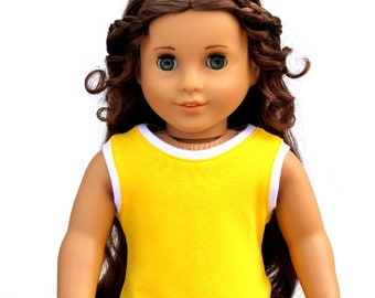 SAMPLE SALE - Fits like American Girl Doll Clothes - Athletic Tank Top in Bright Yellow | 18 Inch Doll Clothes