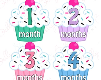 Girl Monthly Baby Stickers, 1 to 12 Months, Monthly Bodysuit Stickers, Baby Age Stickers, Light Cupcakes