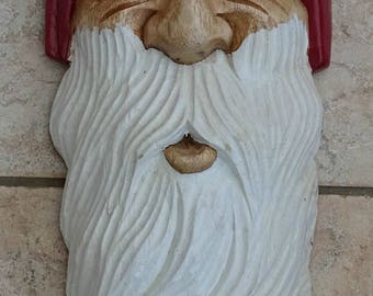 Wooden Hand Carved Santa Head