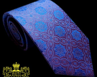Purple and Blue Patterned Silk Tie