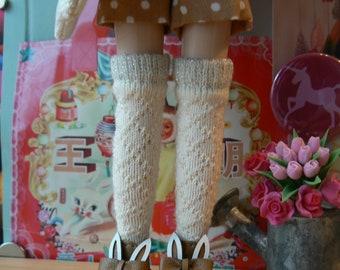 Beige Blythe socks with metal fibres Blythe accessories