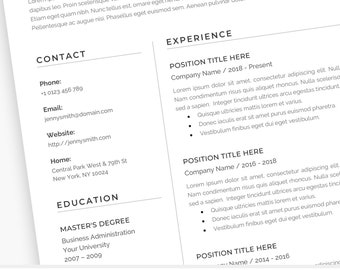 Resume Template Word Professional 1 Page Resume 2 Page Resume