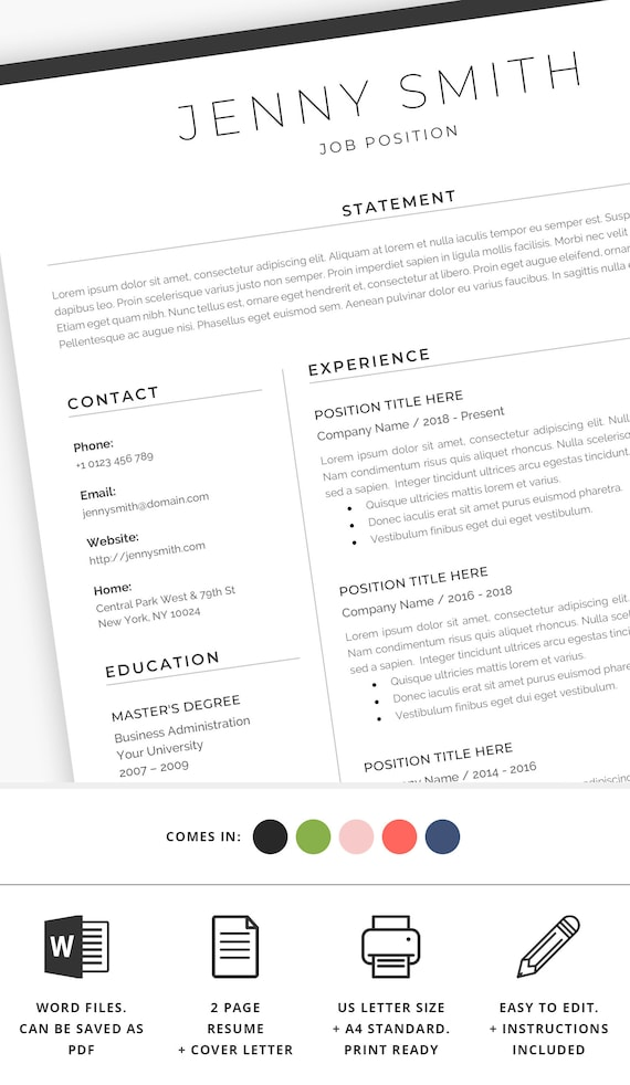 Resume Template Word Professional  Page Resume  Page Resume
