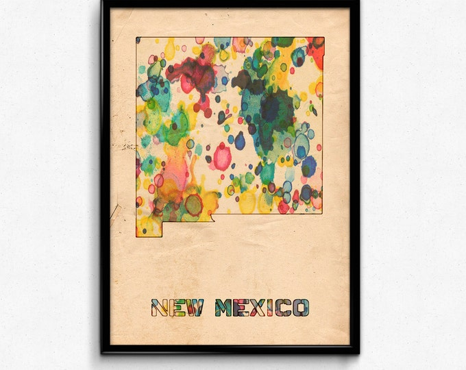New Mexico Map Poster Watercolor Print - Fine Art Digital Painting, Multiple Sizes - 12x18 to 24x36 - Vintage Paper Colors Style
