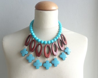 Turquoise brown statement necklace bib necklace large necklace chunky necklace