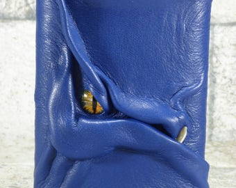 Dragon Flask Blue Leather With Face 8 Ounce Monster Goth Horror Groomsman Gift One Of A Kind 65