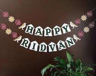 Happy Ridvan banner / Baha'i Faith celebration / 9 pointed star / Bahai festival / party decoration
