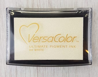 White Ink Pad - White Versa Color Pigment Ink Pad Large - Ink for stamp - Inkpad for Rubber Stamp - White Ink Pad - Stamp  Ink