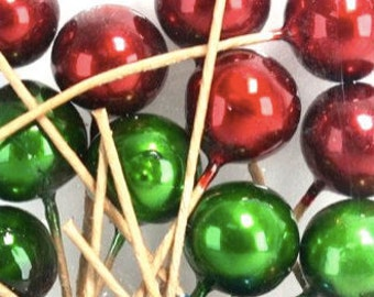 Red, Blue & Green Cotton Spun Metallic Balls - Perfect Pop Of Color To Flower Arrangments/DIY Garland/Bunting - 18 pcs - 218-0152