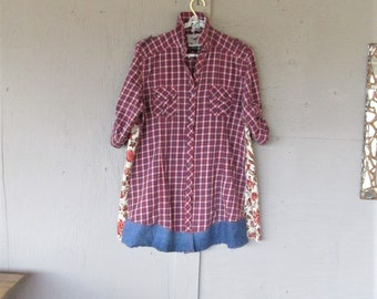 upcycled clothing plaid patchwork tunic spring Romantic shirt dress wearable art X L Boho Bohemian recycled reclaimed LillieNoraDryGoods