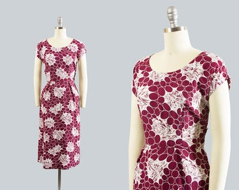 Vintage 1940s Dress | 40s Hawaiian Novelty Print Rayon Cotton Tiki Polka Dot Wiggle Dress (small)