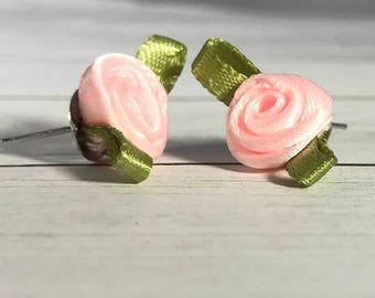 Handmade Unique Satin Ribbon Rose Earrings, Dainty Earrings, Pink Earrings, Red Earrings, Stud Valentine Earrings, Bachelorette earrings