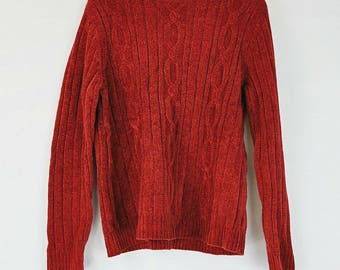 Red 1980s Chenille Sweater