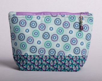 Purple and teal zippered pouch