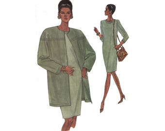 1990s Tapered Dress with Cardigan Clutch Coat Very Easy Vogue 8422 Sizes 14-16-18 Bust 36-38-40 Uncut Vintage Sewing Pattern