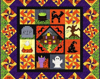 HAUNTED HALLOWEEN Block Patterns - Make this FUN Pieced Halloween Quilt with Ghosts, Trees, Witches and more - Electronically Delivered
