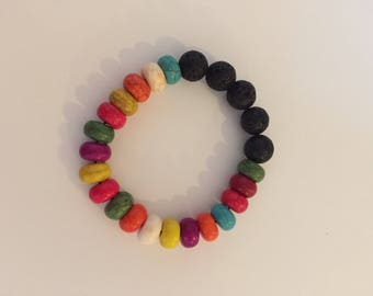 Howlite and lava stone, essential oil diffuser bracelet