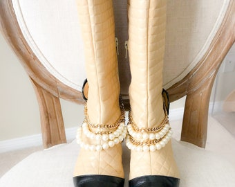 Vintage CHANEL Boots, Tan /Black Quilted Boots w Pearl Ankle Jewelry, Pointy Cap Toe Booties with Chanel Box-size EU 37