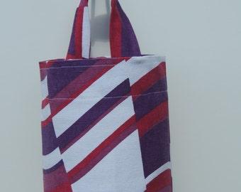 Plastic grocery bag holder. kitchen accessory. bag storage, bag dispencer,plastic shopping bag holder.magenta.retro.eco friendly.