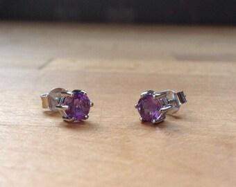 Round amethyst sterling silver stud minimalist earrings