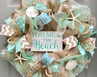 Beach Burlap Wreath, Seashell Wreath, You Me and The Beach, Sea Shell Wreath, Beach Wreath, Starfish Wreath