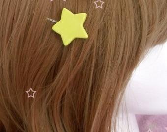 Kawaii Magical Girl Shoujo Mahou Yellow Star Hair Pins *Set of 2*