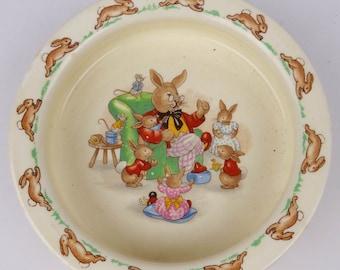 "Bunnykins Porringer- Father Telling Stories -  16 Cms (6.25"") Royal Doulton. 1969 - 1975 Baby Christening Gift VGC"
