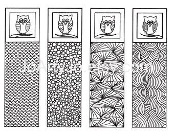 Owl DIY Bookmarks, Zendoodle Art, Gift Idea, Printable Coloring, Digital Download, Zentangle Inspired, Sheet 3