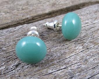 Mineral Green Stud Earrings Green Post Earrings Sterling Silver Stud Earrings Modern Minimalist Studs Pastel Studs