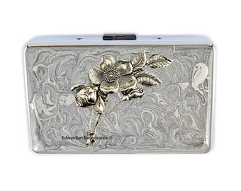 Art Nouveau Metal Cigarette Case Inlaid in Hand Painted Enamel Neo Victorian Inspired Metal Wallet Engraved and Personalized Options