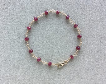 Ruby Bracelet 14KT Gold Filled, Red Ruby gemstones, Wire Wrapped, Beaded Rosary Chain Bracelet, Gemstone Bracelet, Meditation Bracelet