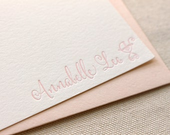 Letterpress Personalized Stationery, Set of 50 or more, Custom Flat Note Card Set, Envelopes, Thank you, baby shower, buggy S128