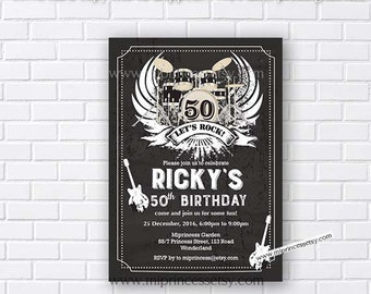 Music, birthday invitation, rock and roll, music party, music birthday,  live music party, adult birthday, adult party, boy party card 894
