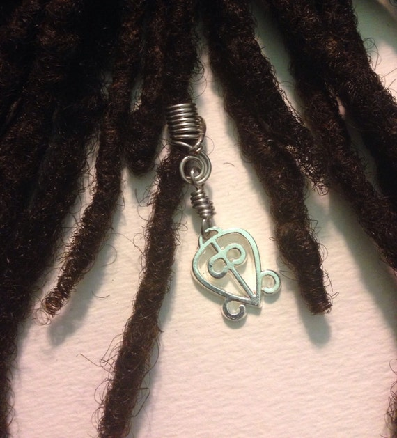 Power of Love Odo Nnyew Fie Kwan African Adinkra Wire Wrapped Hair Bead Dread Locs Dreadlock Jewelry Natural Hair Gift